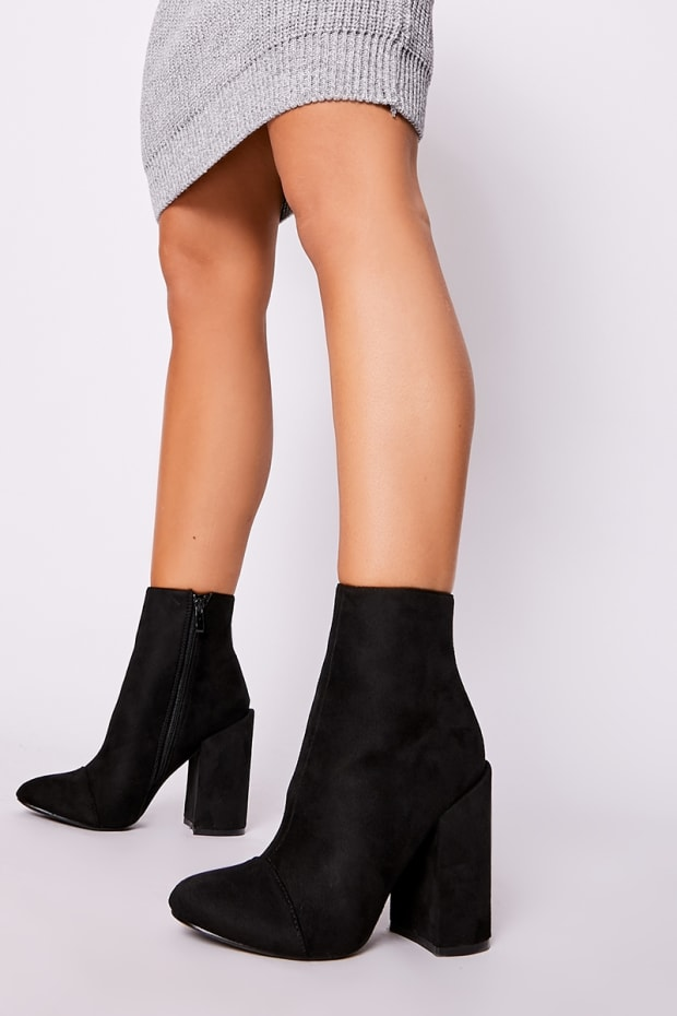 a953d5b07 Silia Black Faux Suede Round Toe Heeled Ankle Boots