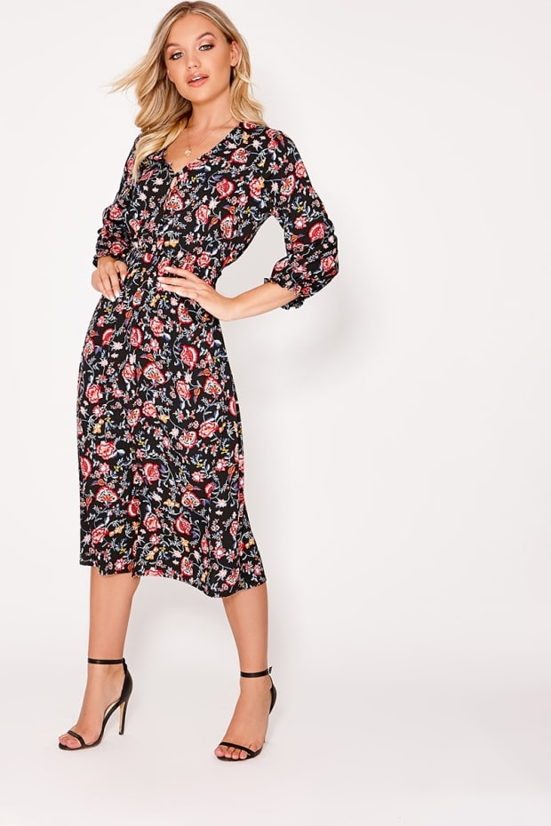 3bd90b7c8ddf Andalyn Black Floral Button Down Midi Dress | In The Style Australia
