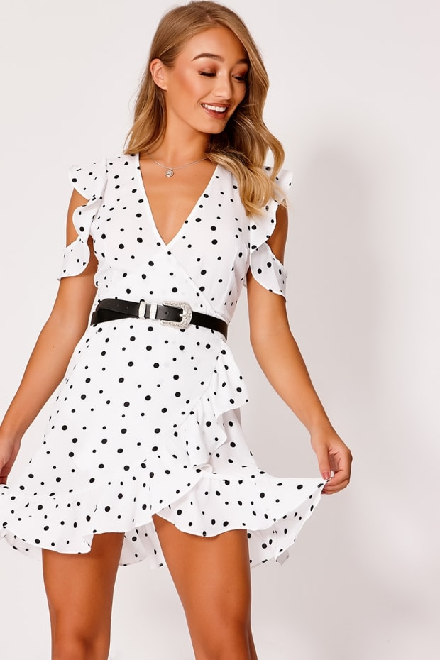 2a4710e61e12 Daveney White Polka Dot Cold Shoulder Wrap Frill Dress | In The ...