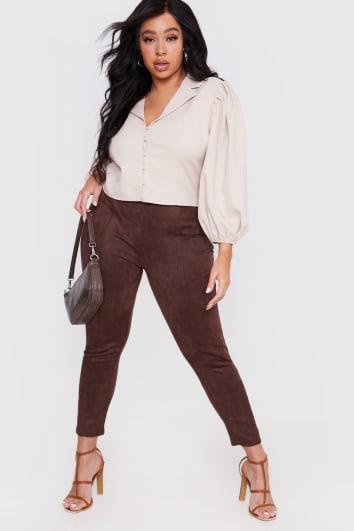 CURVE LORNA LUXE BROWN 'CONTOUR' SUEDE LOOK LEGGINGS