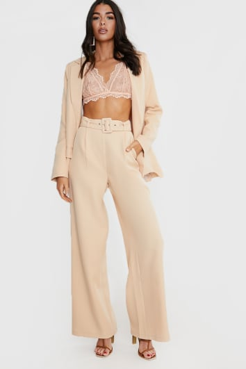 LORNA LUXE STONE  'SPENCER' HIGH WAISTED WIDE LEG TROUSERS