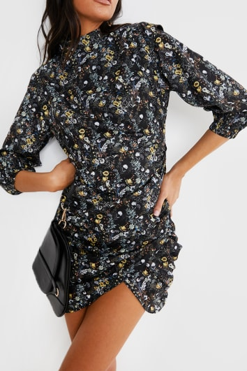 LORNA LUXE BLACK 'CLARENCE' BLENHEIM FLORAL PRINT MINI DRESS