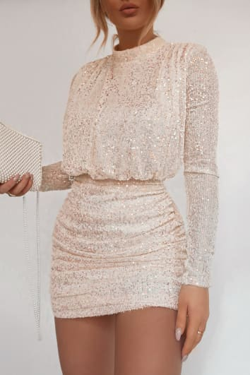 FASHION INFLUX CREAM SEQUIN HIGH NECK OPEN BACK MINI DRESS