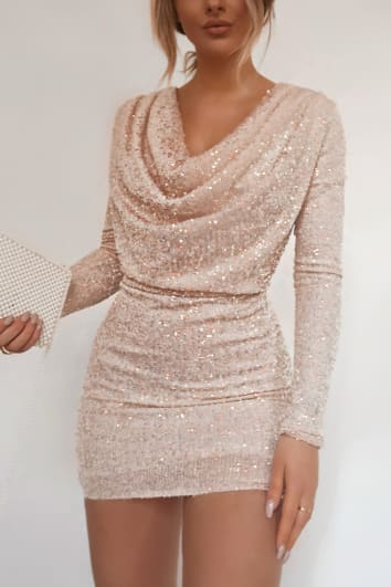 FASHION INFLUX CREAM SEQUIN LONG SLEEVE COWL NECK MINI DRESS
