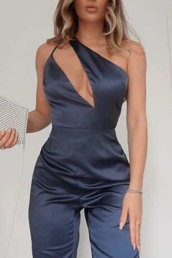FASHION INFLUX NAVY ASYMMETRIC CUT OUT TAPERED LEG JUMPSUIT