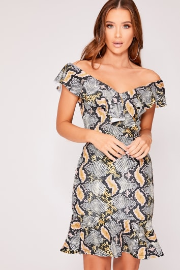 grey snake print frill mini dress