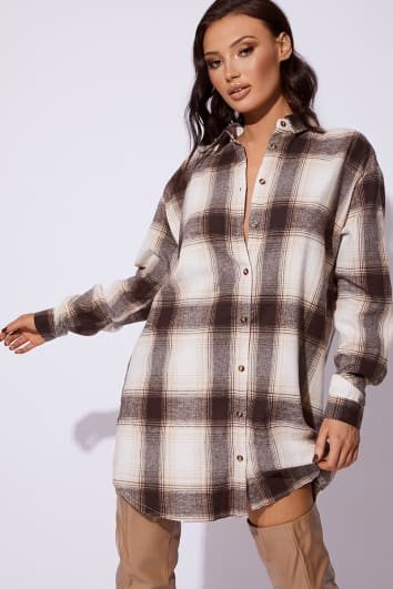943aece0 image of CC CLARKE BROWN CHECKED OVERSIZED SHIRT DRESS with sku:100142