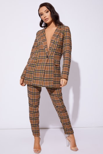 CC CLARKE BROWN CHECKED BELTED BLAZER JACKET