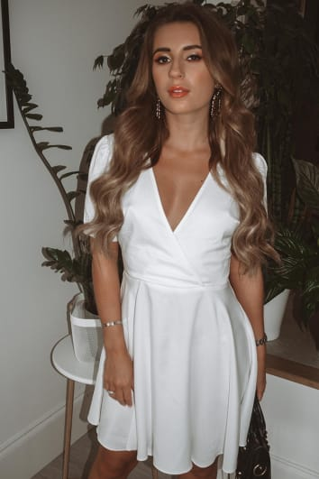 DANI DYER WHITE PLUNGE PUFF SLEEVE SKATER DRESS