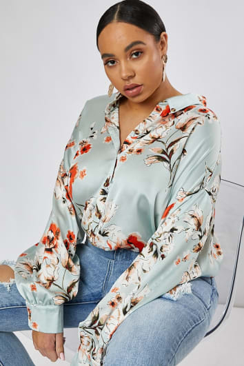 3a6ef98a CURVE DANI DYER GREEN FLORAL PRINT OVERSIZED SHIRT