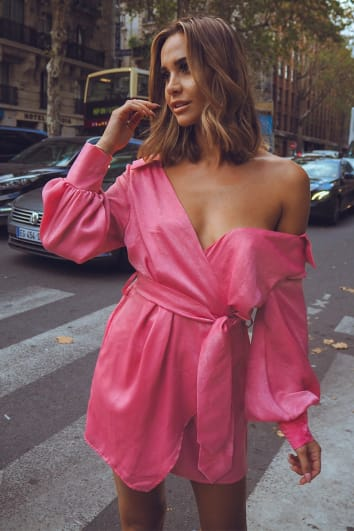 pink satin off shoulder wrap dress