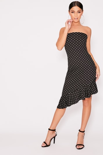 black polka dot bandeau frill midi dress