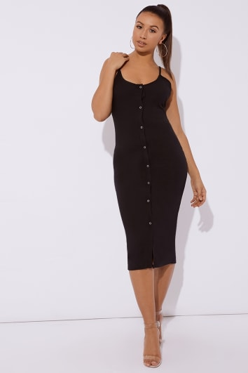 black ribbed button through midi dress