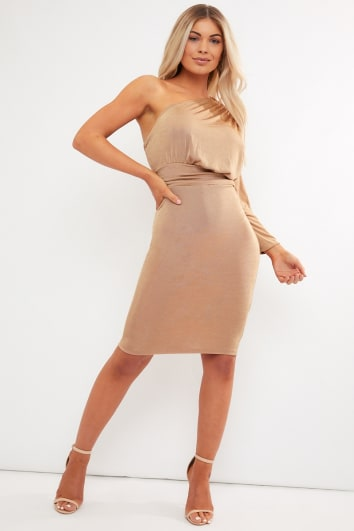 camel one shoulder acetate slinky midi dress