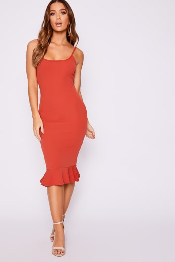 rust frill hem midi dress