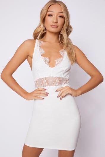 white lace plunge mini dress