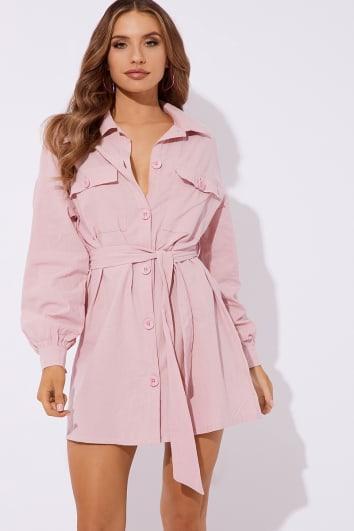 blush button down tie waist shirt dress