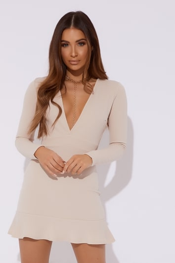 camel plunge long sleeve frill hem dress