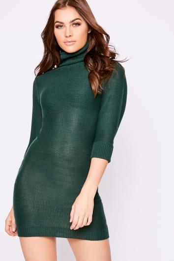 green roll neck kniited jumper dress