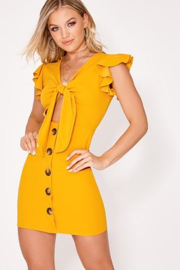 mustard tie front button down dress