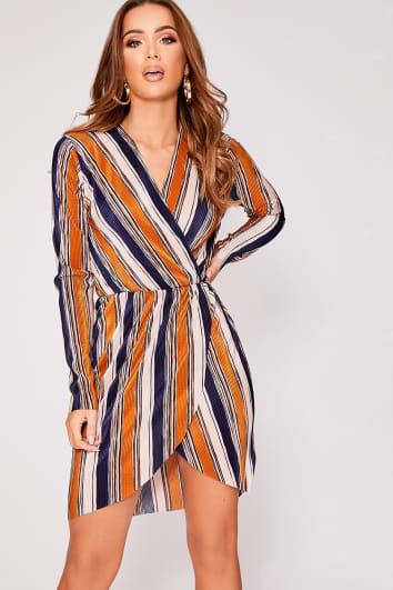 mustard stripe pleated wrap dress