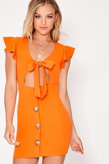 orange tie front button down dress