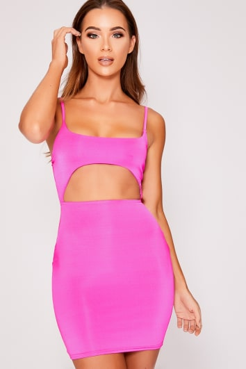neon pink slinky cut out dress