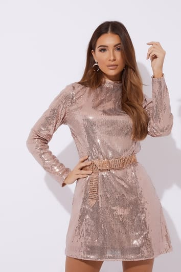DANIEH ROSE GOLD LONG SLEEVE SEQUIN MINI DRESS