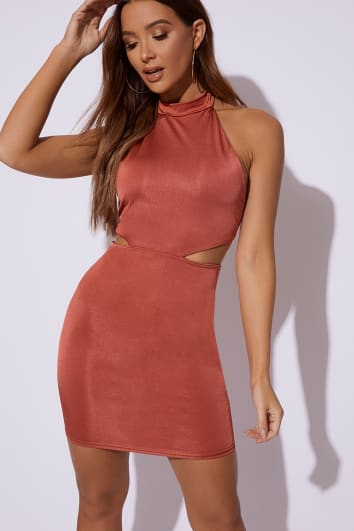 rust slinky high neck cut out dress