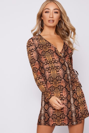 rust snake print wrap dress