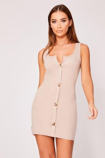 stone scoop neck tortoiseshell button dress