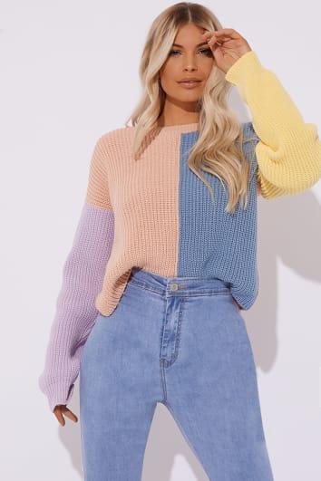 pastel colour block crew neck jumper