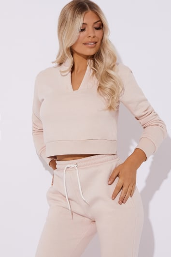 pink fleece back open neck detail loungewear sweater
