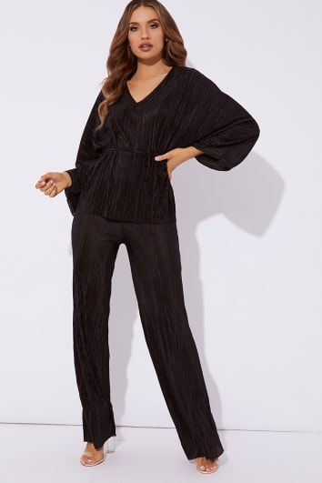 LOVETTA BLACK PLEATED TOP & TROUSER SET CO-ORD