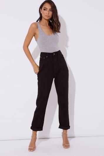 black oversized mom jeans