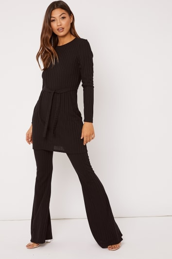 LEYDA BLACK RIBBED FLARE LEG TROUSERS CO ORD