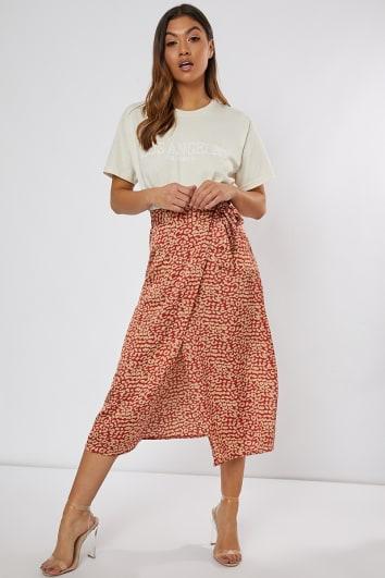 red leopard print wrap skirt