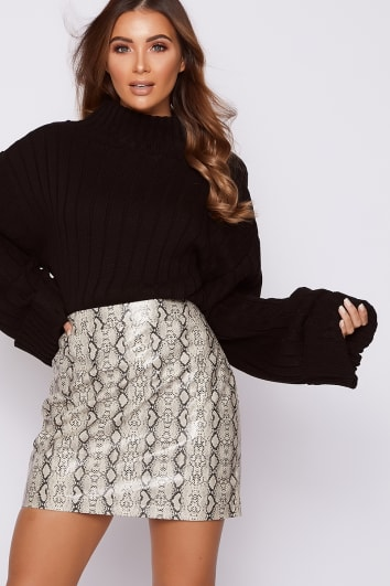 stone snake print faux leather mini skirt