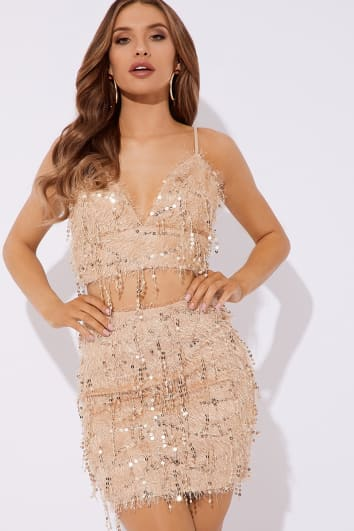 nude fluffy sequin co-ord mini skirt