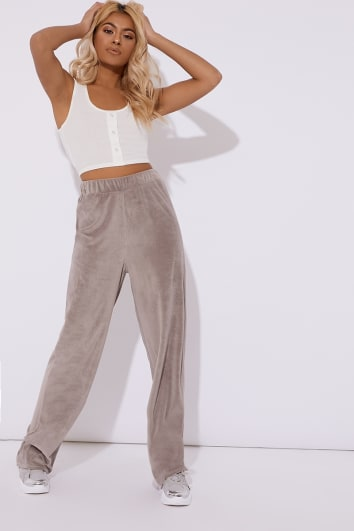 grey teddy velour wide leg trouser