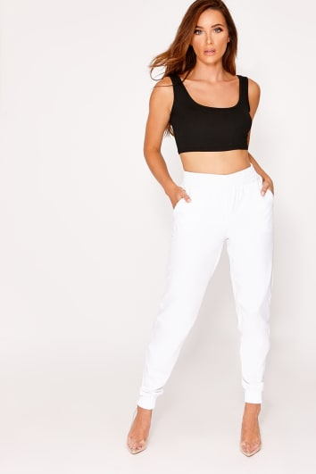 white cargo lounge trousers