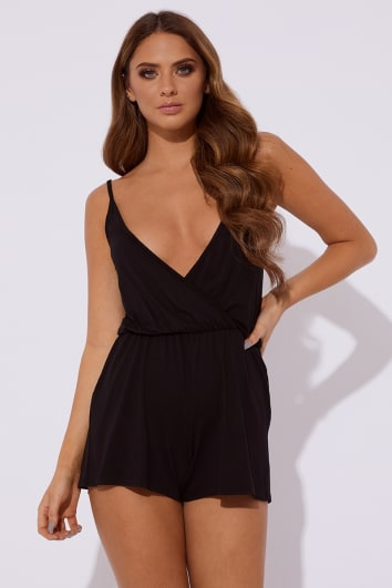 LUCIE BLACK CAMI WRAP FRONT LOUNGE PLAYSUIT