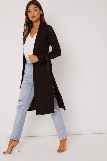 black tie sleeve belted duster jacket