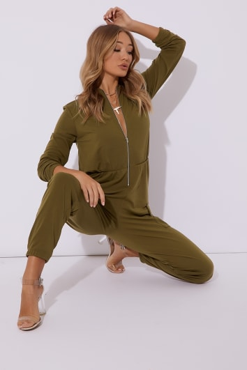 khaki zip thru loop back boiler suit