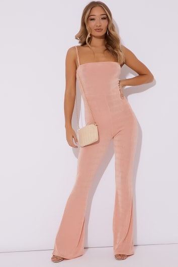peach slinky square neck flared leg jumpsuit