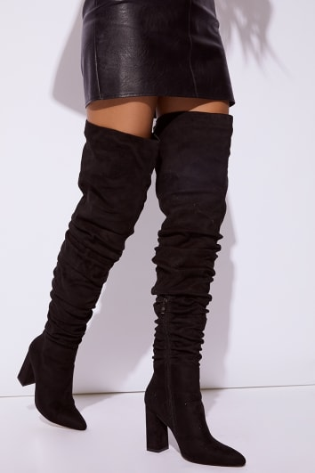 black faux suede ruched over the knee boots