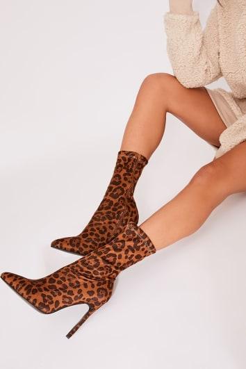 leopard print lycra sock heeled boots
