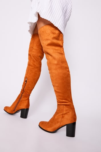 tan faux suede mid heel over the knee boots