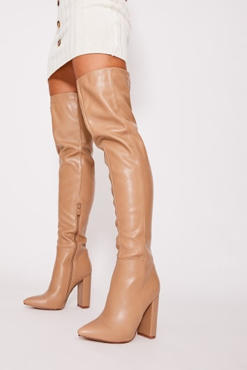 taupe faux leather over the knee boots