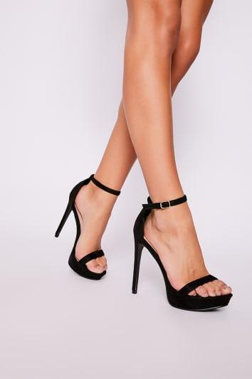 black faux suede platform heels
